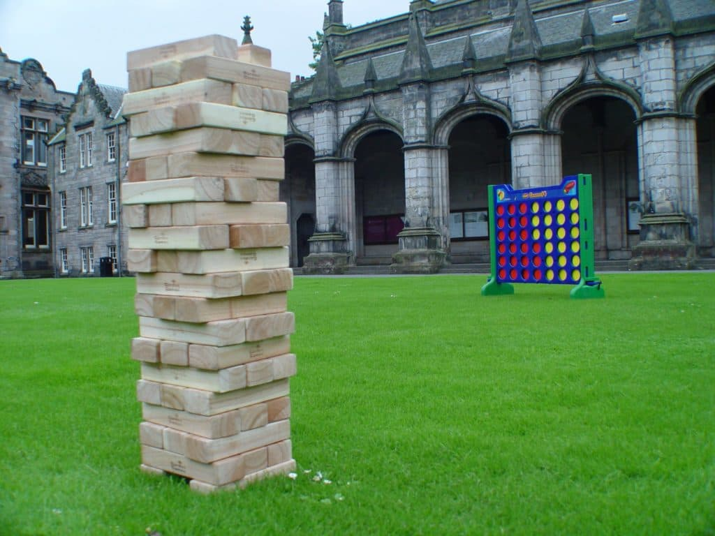 Premier Disco wedding day giant games supported by our Edinburgh DJ