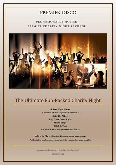 Premier Disco Charity Fun Night Leaflet